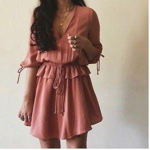 Mango Pink Ruffle Mini Boho Dress size S
